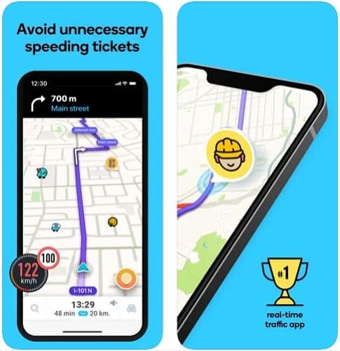 لقطات شاشة من تطبيق الخرائط ويز للايفون