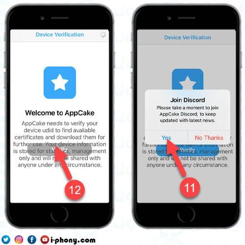 التحقق من شهادة AppCake على الايفون