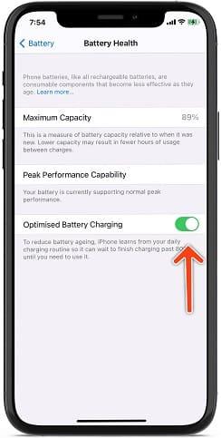 تفعيل ميزة شحن البطارية المحسن على ايفون 12