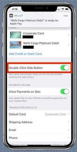 شاشة آيفون: تشغيل apple wallet