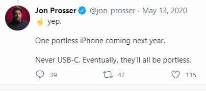تغريدة المسرب جون بروسر بخصوص آيفون بدون منافذ