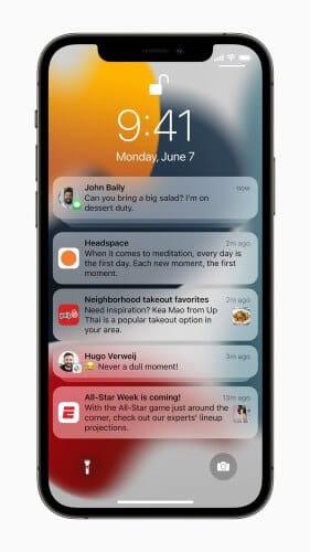 تحسينات في الإشعارات من المزايا الجديدة في iOS 15
